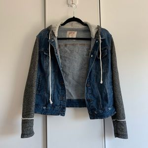 Mossimo | Hooded Denim Jacket with Sweater Sleeves